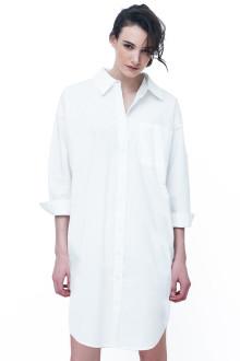 White Poplin Shirt Dress Side Metal Detail
