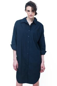 Blue Poplin Shirt Dress Metal Detail