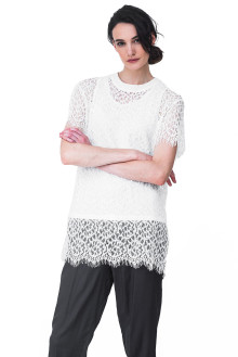 White Lace Long Top with Inner