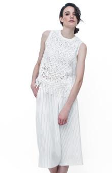 White Sleeveless Lace Fringe Detail Top