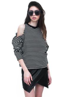 Black Stripe Long Sleeve Cut Out Top
