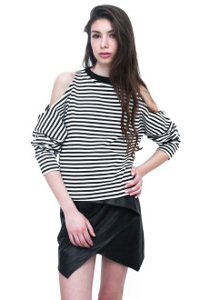 White Stripe Long Sleeve Cut Out Top