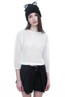 White Long Sleeve Net Top