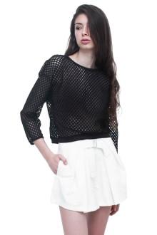 Black Long Sleeve Net Top