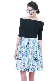 Blue Air Balloon Top and Skirt Set