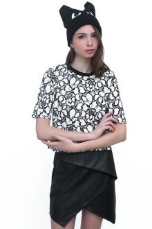 White Big Flower Lace Crop Top