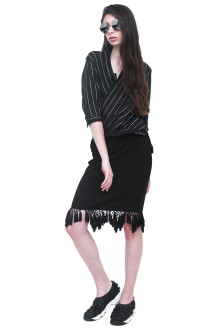 Black Stripe Wrap Shirt