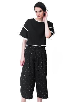 Black Boxy Sleeves Crop Top