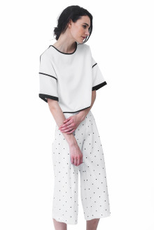 White Boxy Sleeves Crop Top