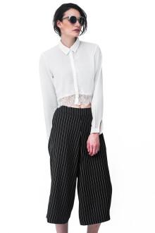 White Crop Shirt Lace Detail