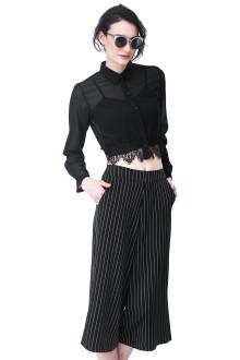 Black Crop Shirt Lace Detail
