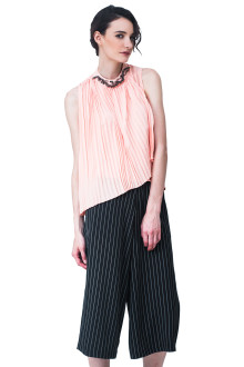 Peach Pleats Embroidery Neck Top