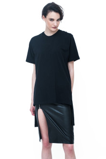 Unisex Black Long Tees with Stepped