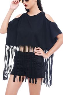 Black Fringe Jersey Top