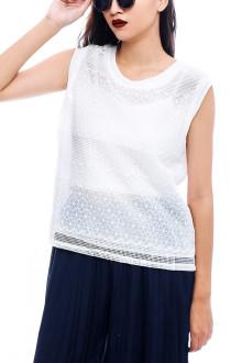 White Flower Stitch Top