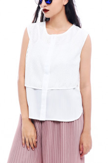 White Double Layer Net Top
