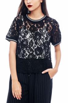 Black Sporty Vintage Lace Top