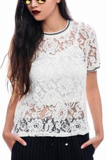 White Sporty Vintage Lace Top