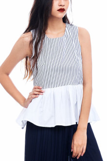 White Cotton Stripe Peplum Top