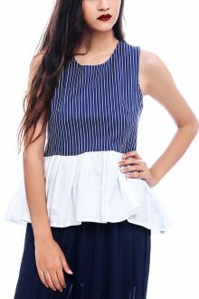 Blue Cotton Stripe Peplum Top