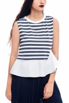 Grey Stripe Peplum Top