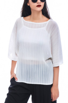 White Batwing Pleats Top