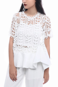White Rose Lace Peplum Top
