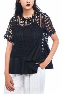 Black Rose Lace Peplum Top