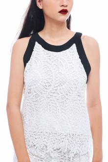 White Leaf Lace Halter Top