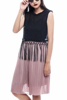 Black Knit Fringe Top