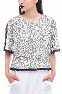 White Cutout Sleeves Lace Top