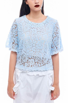 Blue Cutout Sleeves Lace Top