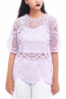 Purple Big Round Crochet Top