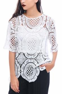 White Big Round Crochet Top