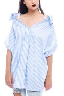 Blue Boyfriend Shirt Top