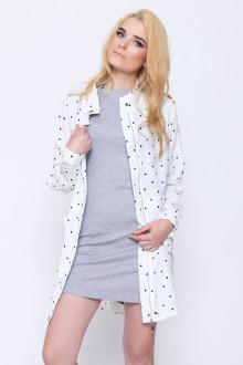 White Polkadot Zipper Shirt