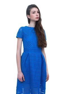 Blue Stripe Neoprene Lasercut Dress