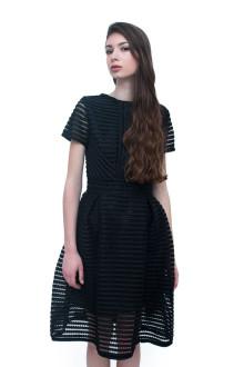 Black Stripe Neoprene Lasercut Dress