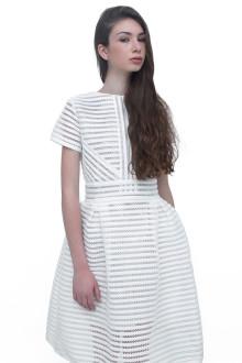 White Stripe Neoprene Lasercut Dress