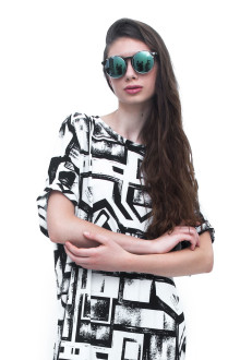 White Square Abstract Jersey Dress