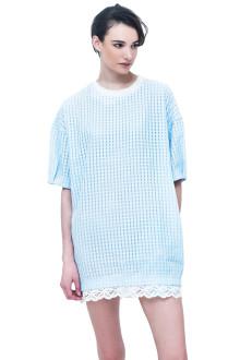 Blue Cane Textured Dress