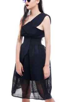 Blue One Shoulder Net Dress