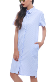 Blue Twisted Back Shirt Dress