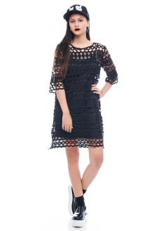 Black Long Crochet Dress with Inner Top