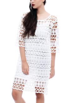 White Long Crochet Dress with Inner Top