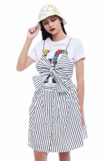 Black Bow Stripe Cotton Dress