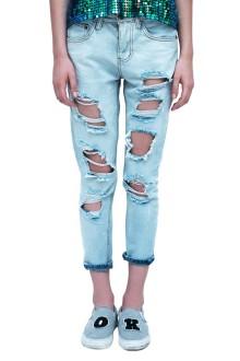 Blue Torn Out Boyfriend Jeans
