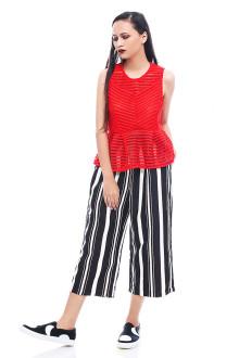 Black Pajamas Stripes Cullotte