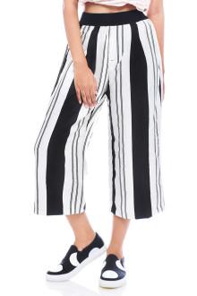 White Bold Stripes Cullotte