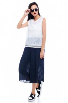 Blue Long Basic Pleats Pants